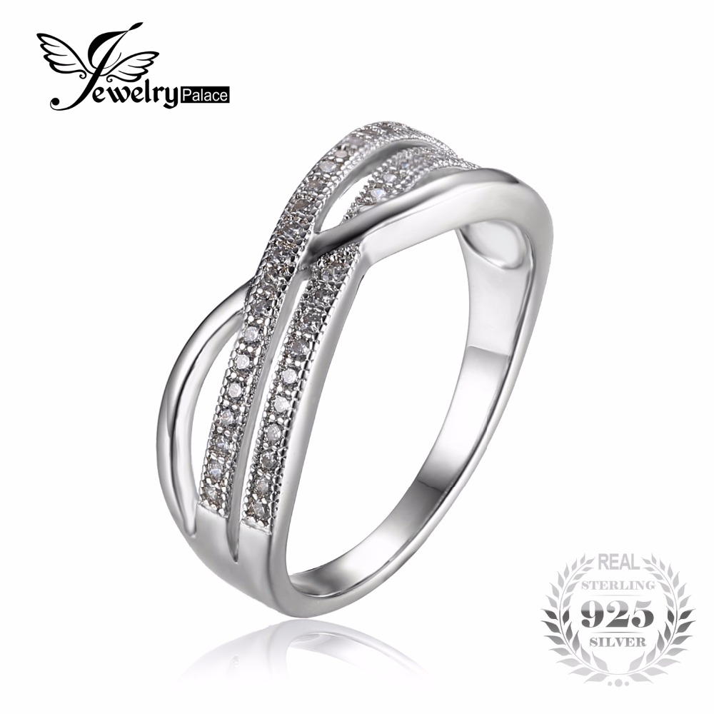 jewelrypalace infinity knot cubic zirconia anniversary promise wedding band ring 925 sterling silver jewelry new design