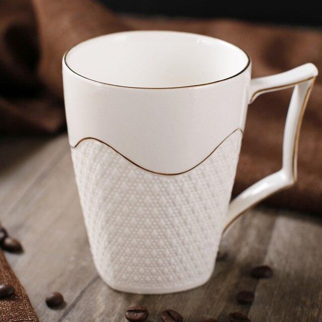 Modern Style Elegant Bone China Mug With Engraving Gold