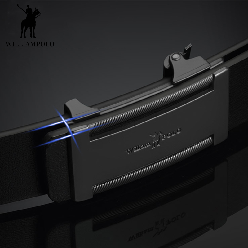 Image 2 - WILLIAMPOLO Slim Thin Belt Automatic Buckle Metal Fashion Men Real Leather Male Cowskin Belt Business Casual Gift for Husband-in Men's Belts from Apparel Accessories on AliExpress