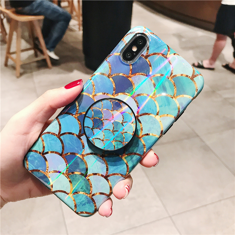 Shiny mermaid scales laser phone cases for iphone 7 8 X XR XS Max 6 S 6s 7 8 plus Ring air bag Stand holder Grip case back cover (8)