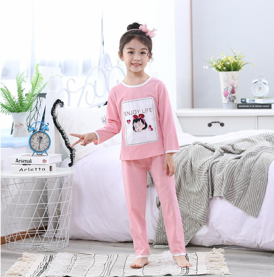 2019 Spring Autumn Children Long Pajamas Sets Cute Home Cottoon Sleepwear Girls Kids Pijamas Boy Top and Pant Print Kids Pajamas(China)