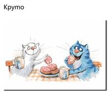 Оформлена Синий Белый Кот люблю Живопись по номерам украшения дома для Гостиная стены искусства Европа абстрактной Цвет Art VA-0079