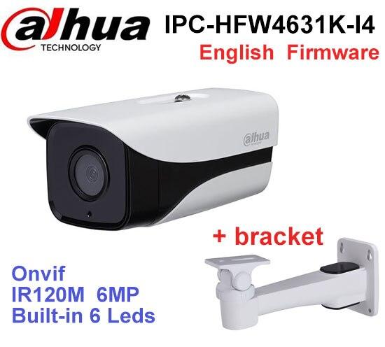 Dahua IPC-HFW4631K-I4 Stellar Camera built-in 4Leds IR120M IP67 DH-IPC-HFW4631K-I4 outdoor cctv camera with bracket ahua 6mp ip camera ipc hfw4631k as i4 ip67 built in 4 leds ir120m with audio