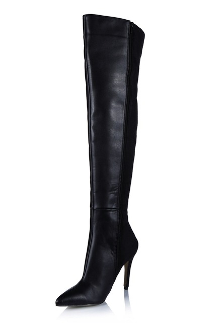 067d461044dd sexy pointed toe stiletto high heels thigh long boots fashion zipper over  knee high boots stretch fabric women winter shoes pump