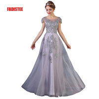 FADISTEE New arrival Gorgeous style dress evening dresses appliques flowers A line cap sleeves gown prom lace style scoop neck