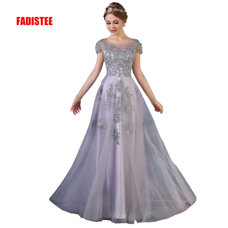 FADISTEE New Arrival Gorgeous Style Dress Evening Dresses Appliques Flowers A-line Cap Sleeves Gown Prom Lace Style Scoop Neck