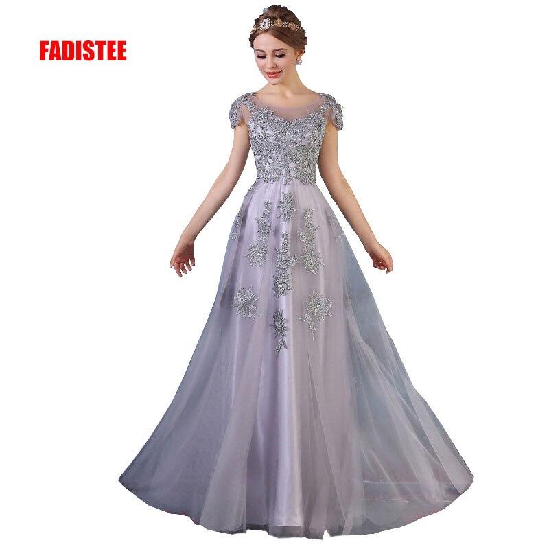FADISTEE nouveauté magnifique style robe robes de soirée appliques fleurs a-ligne cap manches robe de bal dentelle style encolure dégagée