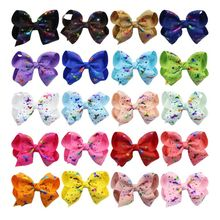 New 1 piece 4 inch hot stamping bow unicorn hairpin accessories handmade childrens holiday gifts