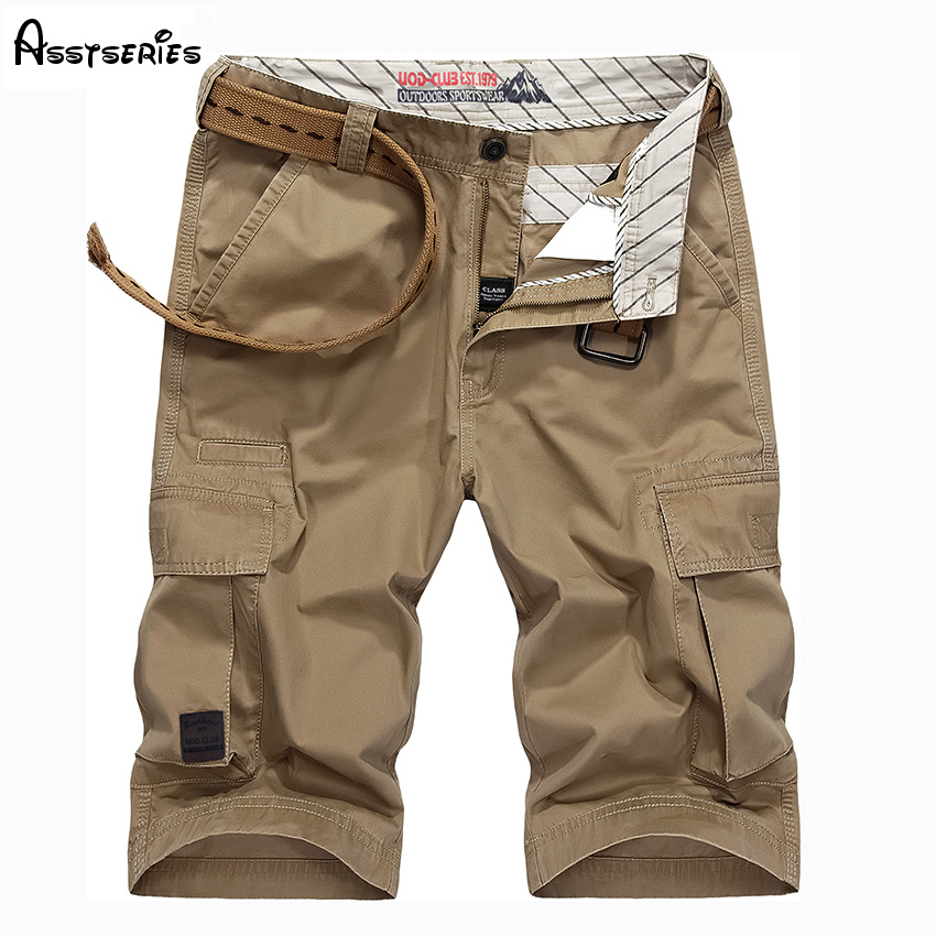 2018 New Arrived Men Military Shorts Summer Cargo Shorts Men Cotton Loose Casual Short Pants Top Quality No Belt D65