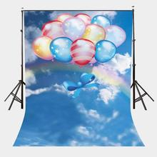 150x210cm Colorful Floating Balloons Backdrop Seven Colors Rainbow Photography Background for Children Kids Baby