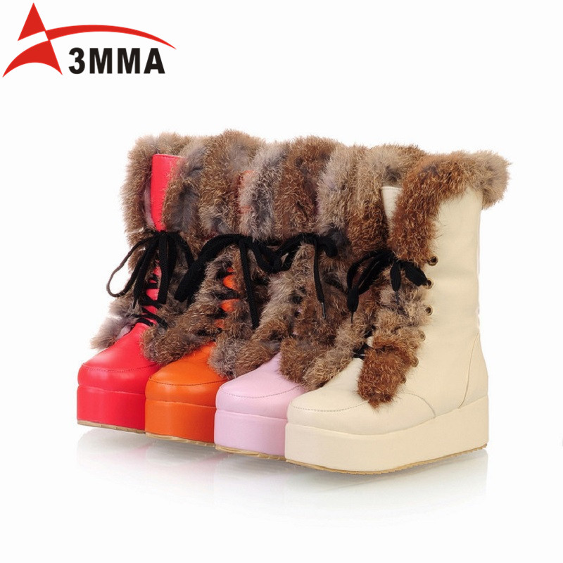 все цены на  3MMA Large Size Lace Up Platform Snow Boots Inside Thick Plush Cotton Fur Warm Winter Women Boots Rabbit Fur Ankle Flats Boots  в интернете