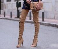 Новая мода вырез узелок над коленом peep toe высокий тонкий каблук для женщин в весной и осенью большой размер 35-42