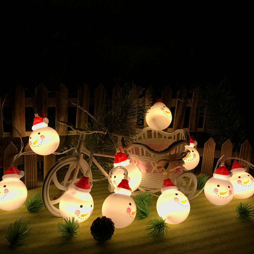 2017 Christmas lights outdoor home garden white light snowman string light AA battery for christmas party diy decoration