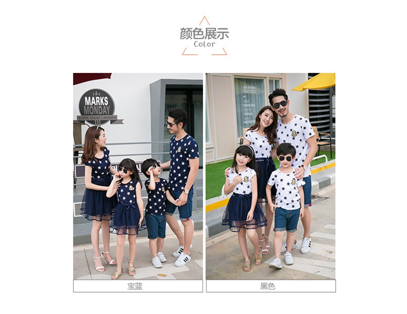 HTB1ecFqafLsK1Rjy0Fbq6xSEXXaB - Summer Cotton Family Matching Outfits Mom And Daughter Mesh Dress Dad Son Blue White Stars Short T-shirt Children Clothing