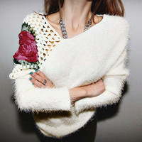 Women Fashion Sweater Female Autumn Winter Hollow Embroidery Rose Hook Flowers Sweater Girls Casual Elegant Knitted