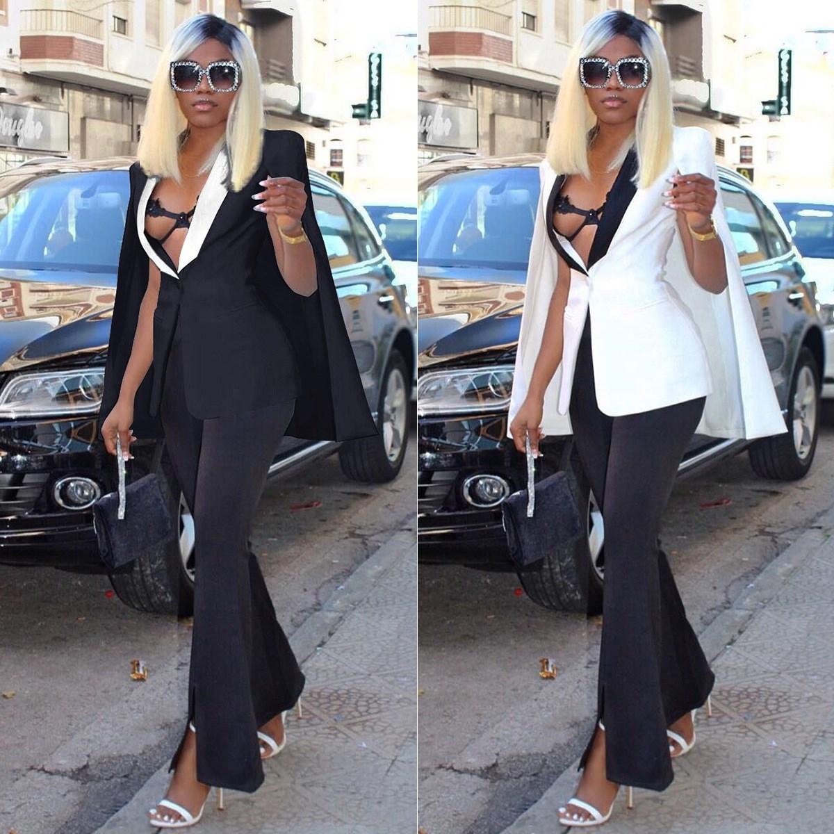 Suits & Sets Women's Clothing Sexy Deep V-neck Womens Poncho Cape Cloak Coat Blazer Suit Shawl Slim Fit Outwear