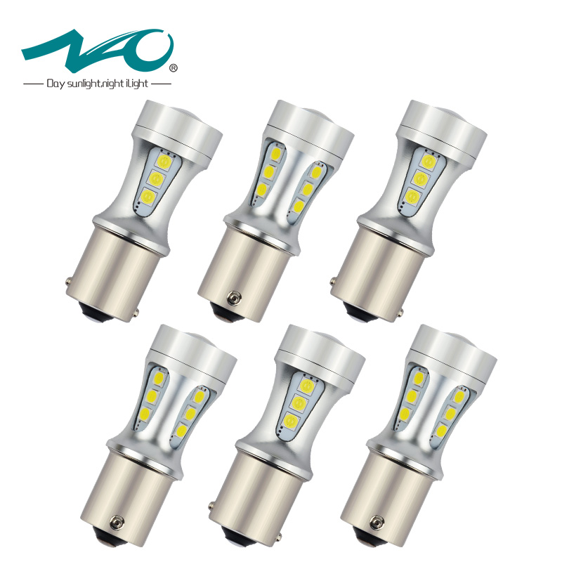 NAO 6x P21W led BA15S LED Bulb 1156 S25 6000K White 5W Brake Lights Reverse Lamp Auto DRL COB Car Tail Bulb 18 led 3030 Chips auto car styling 4x cob p21w led 12smd 1156 ba15s truck strobe led fog lights hid error free car side wedge car styling jul 19