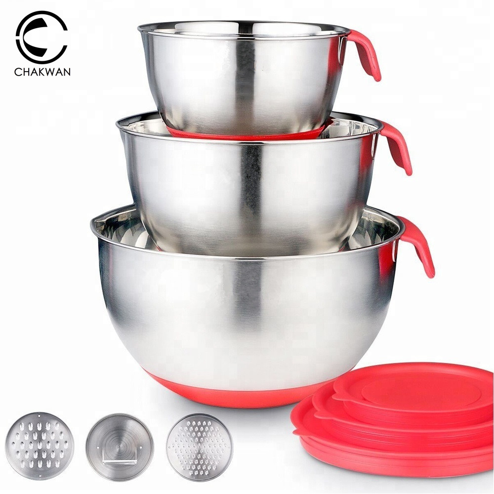 Mixing Bowls Stainless Steel Non-Slip DIY Cake Bread Salad Mixer Kitchen Baking Cooking Tool with Cover Grater Food ContainerMixing Bowls Stainless Steel Non-Slip DIY Cake Bread Salad Mixer Kitchen Baking Cooking Tool with Cover Grater Food Container