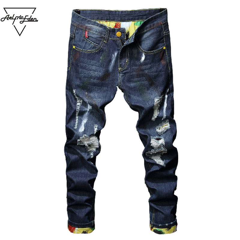 Aelfric Eden Autumn New Arrival Holes Jeans Men Pocket Hole Denim Skinny Trouser Plus Size Jean High Quality Hip Hop Jeans Yg088 men s cowboy jeans fashion blue jeans pant men plus sizes regular slim fit denim jean pants male high quality brand jeans
