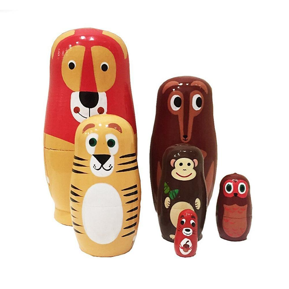 6Pcs/Set Cartoon Animal Russian Nesting Dolls Wooden Matryoshka Handmade Toy