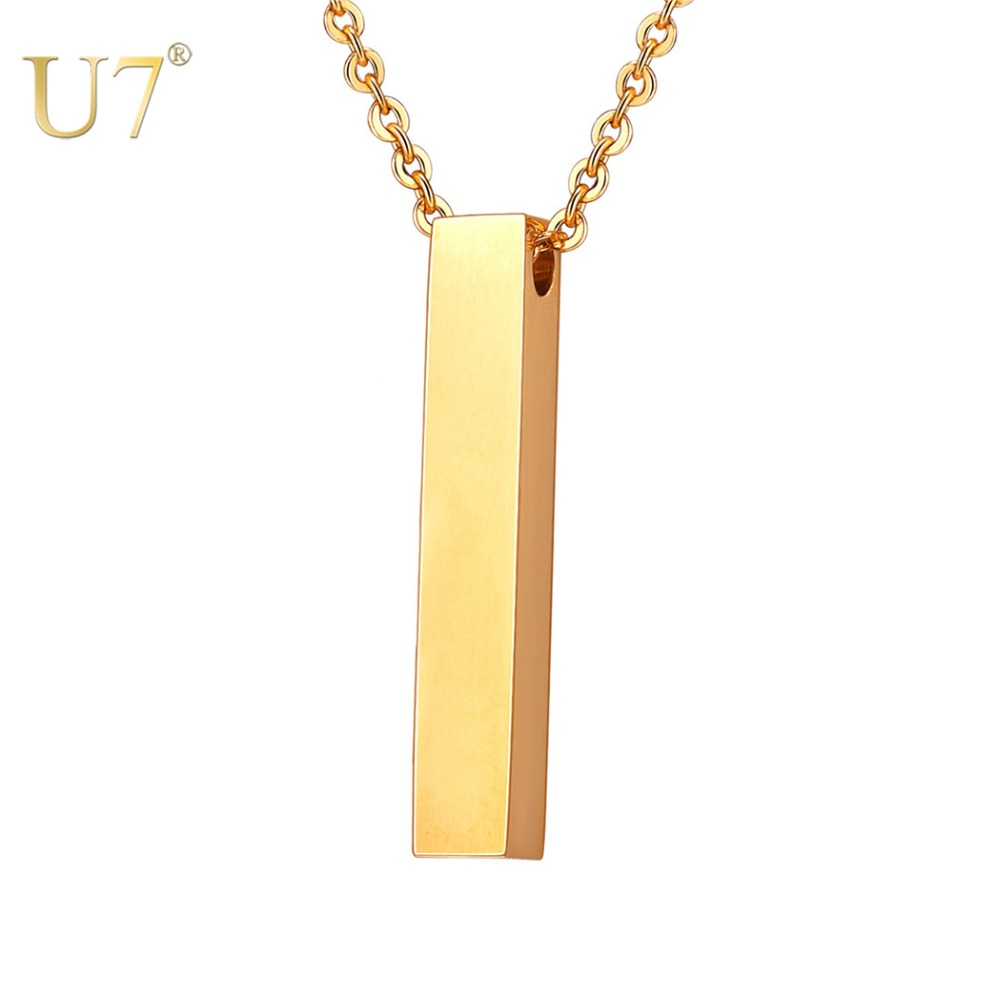 U7 Personalized Cuboid Bar Pendant Necklace Engraving Custom Unisex 316L Stainless Steel Gold Color Names Chain Necklace N1120 necklace