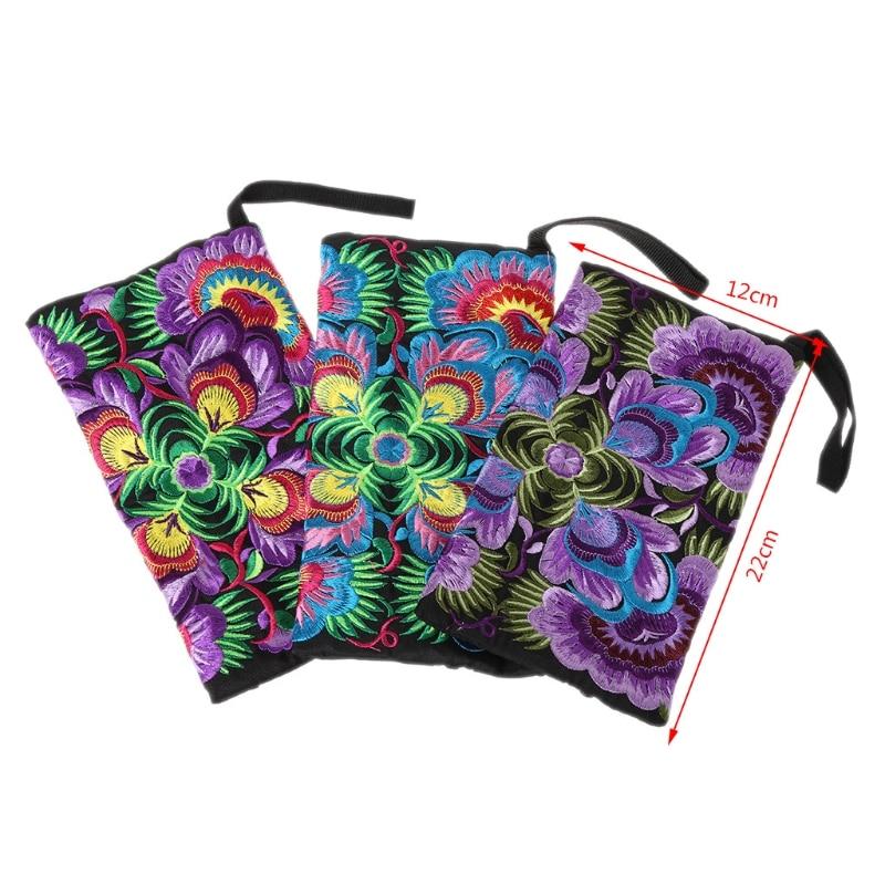 THINKTHENDO Embroidered Wristlet Bag Ethnic Embroidery Wallet Coin Purse Handbag Presents Fashion Women Girl Small Purse New