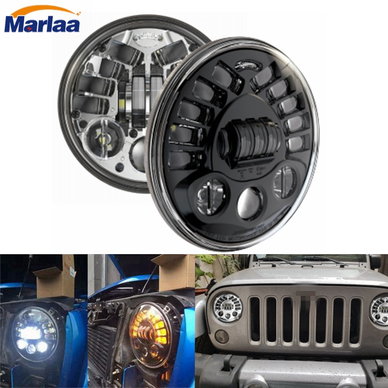 7 Inch Round LED Headlight Conversion Kit DLR Light Assembly For JEEP JK TJ FJ Hummer Motorcycle Headlight H4 For Harley Davison 9012 hir2 led headlight bulbs 50w 8000lm fanless auto headlamp conversion kit for toyota chevrolet cadillac buick gmc ford jeep