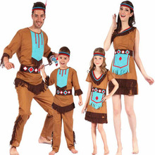 b2ad685ff692 Adults Kids Boy Girl Original Indian Savage Costume Family Wildman Cosplay Costumes  Party Dress Purim Halloween