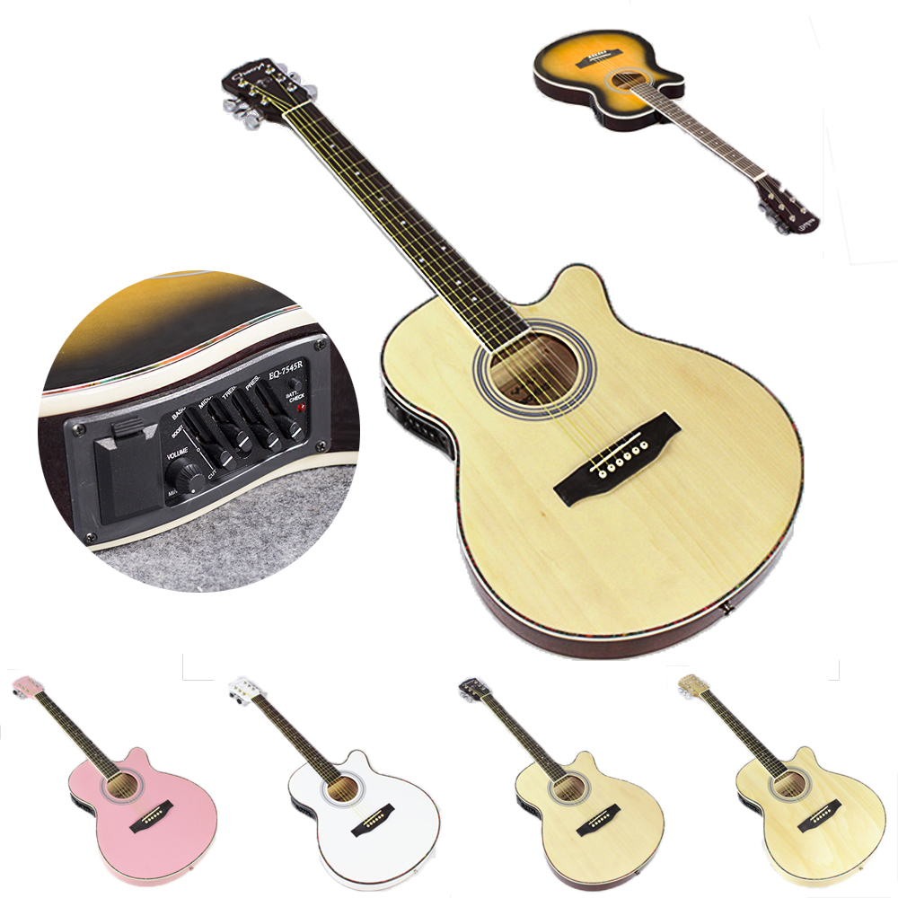 40 inch electric acoustic 6 string guitar pick up equipment steel strings folk guitar pop guitar. Black Bedroom Furniture Sets. Home Design Ideas