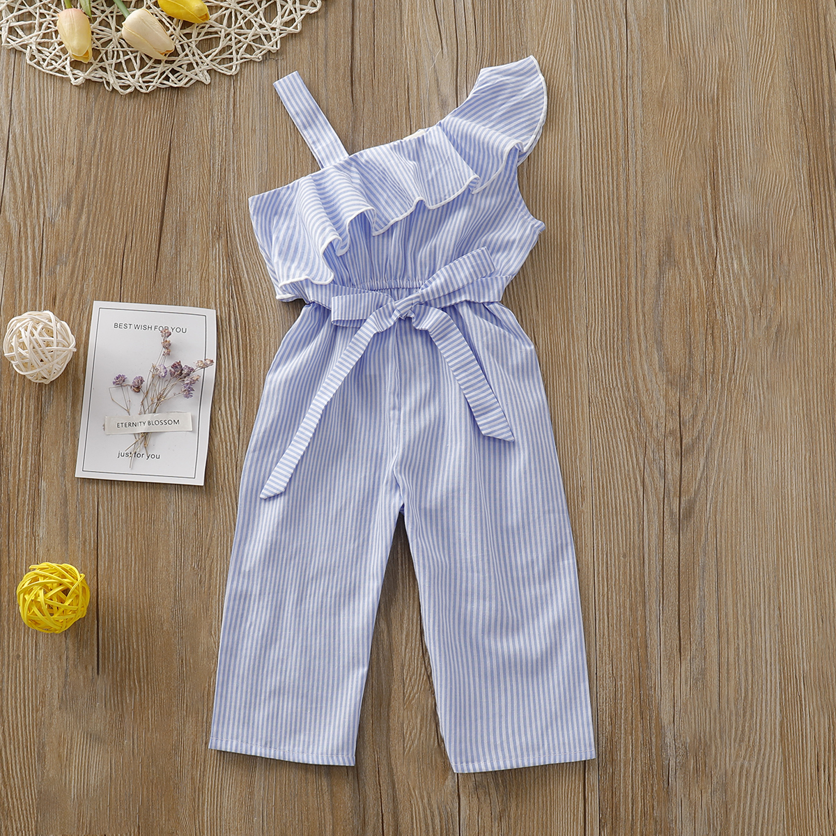 Pudcoco Summer Toddler Baby Girl Clothes Off Shoulder Ruffle Cotton Striped Romper Jumpsuit One-piece Outfit Playsuit Summer