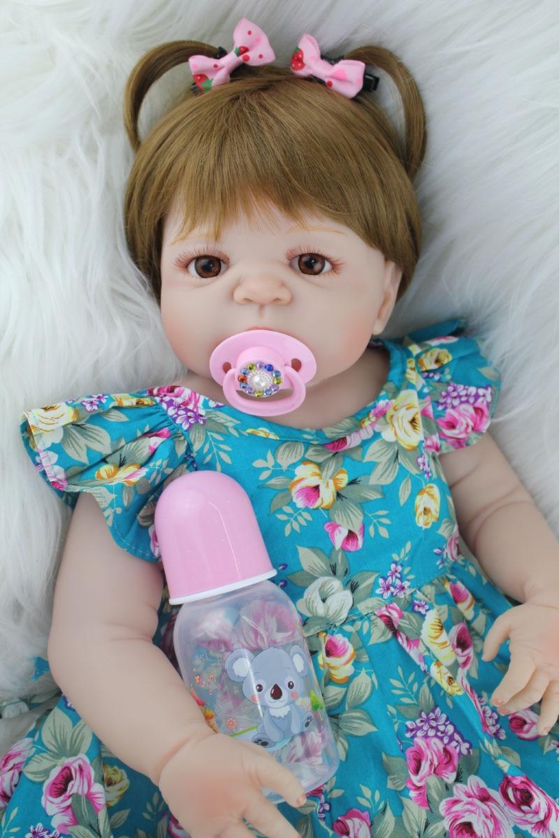 55 см полный корпус силиконовый реборн девочка кукла игрушки Реалистичные 22 дюймов Bebe новорожденная принцесса малыш кукла подарок на день р...