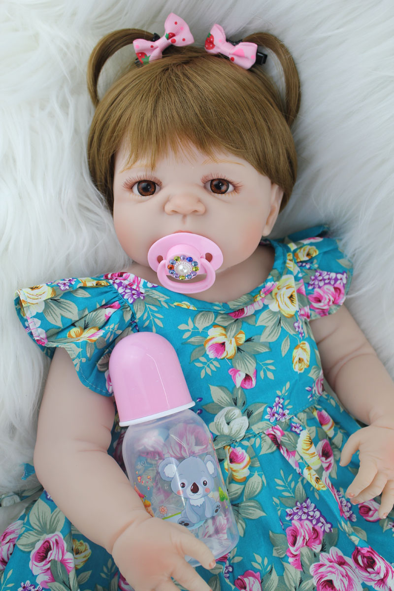 55cm Full Body Silicone Reborn Girl Baby Doll Toys Realistic 22inch Bebe Newborn Princess Toddler Babies Doll Birthday Gift