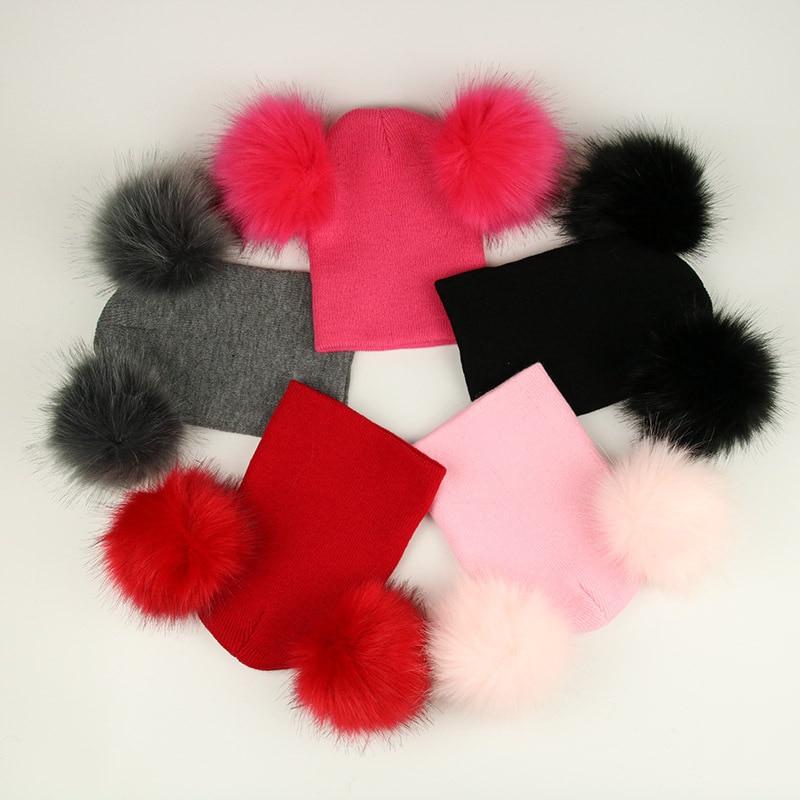 d48ef19acfc 2018 Children Toddler Kids Baby Warm Winter Wool Knit Beanie Solid Fur Pom  Pom Bobble Hat Cap Winter Warm Hat
