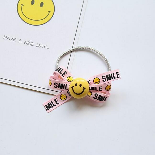 4PCS smiling face elastic hairband hair bow rubber band kids school girls hair ties ponytail holder child hair accessories in Hair Accessories from Mother Kids
