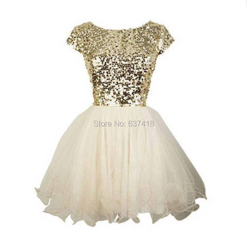 Aliexpress.com : Buy Gold Sequins and Ivory Skirt Short Homecoming ...