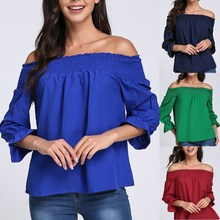 Fashion Women Oversize Blouse Shirts 2019 Ladies Loose Shirts Sexy Girls Sweet Off Shoulder Blouse Female Chic Tops femme sweet off the shoulder women s flounced blouse