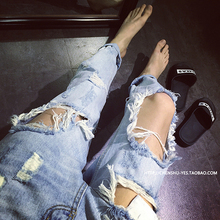 Summer 2016 Big Sale High Quality Ripped Jeans For Men With Huge Holes,Light and Dark Blue Color Nine Pants Trousers MB16213