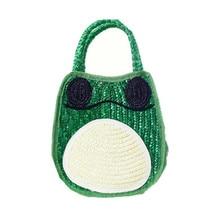 Kawaii соломы Пляжные сумки женщины высокое качество соломы сумка лягушка дизайн милый верхнюю ручку сумки зеленый летний отдых небольшой сумки