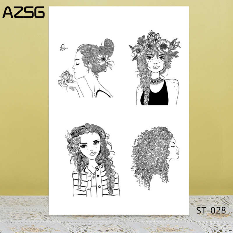 AZSG แฟชั่นสาว/แมวน่ารักล้างแสตมป์ DIY Scrapbooking การ์ดหัตถกรรมสนุกอุปกรณ์ตกแต่ง 10*10 ซม.