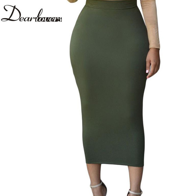 Dear lover Women  Long Pencil Skirt Black High waist Bodycon Office Skirts Spring 2017 LC71188 Faldas Largas Mujer Casual
