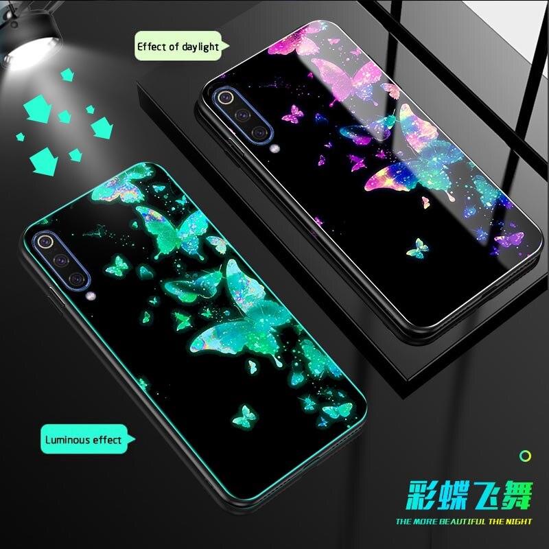 Luminous Tempered Glass Case For Xiaomi MI 9 SE luxury Night Shine back Cover redmi Note 7 Phone case