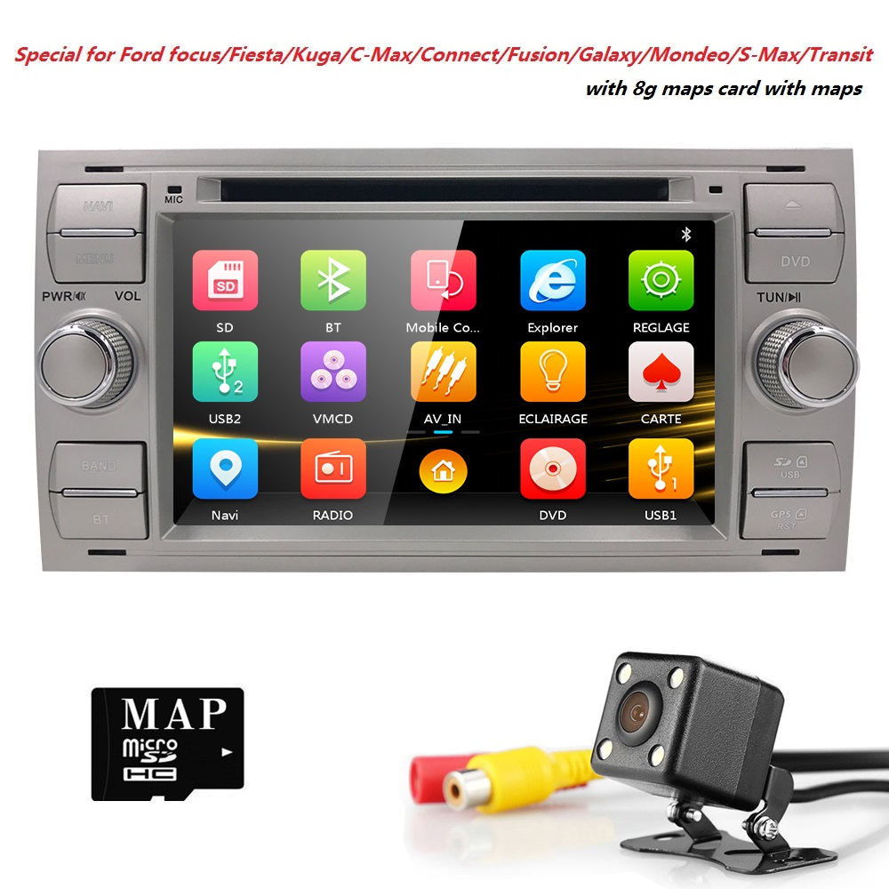 2 Din 7Black Sliver Car DVD Player For Ford Focus 2/Mondeo/Transit/C-MAX/Fiest GPS Navigation AutoRadio Ipod 3G SWC BT CD FM/AM 2 din 7 inch car dvd player for ford mondeo s max c max focus 2 2008 2011 with 3g radio gps navigation bt 1080p 8gb map