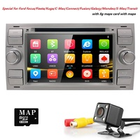 2 Din 7Black Sliver Car DVD Player For Ford Focus 2/Mondeo/Transit/C MAX/Fiest GPS Navigation AutoRadio Ipod 3G SWC BT CD FM/AM