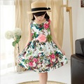 Girl Dress Bebe Party Dress with Flower Belt Sleeveless Children Infant Clothing sundress for girls formal dress for girl kid