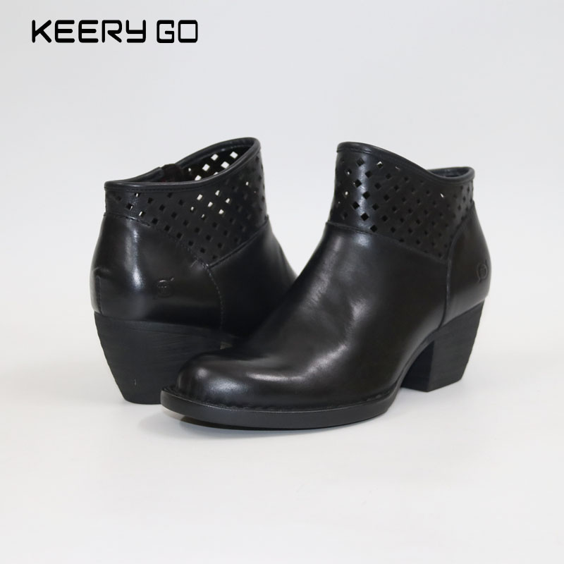 Double eleven Carnival new high-end leather boots with hollow all-match foot comfort classic fashion