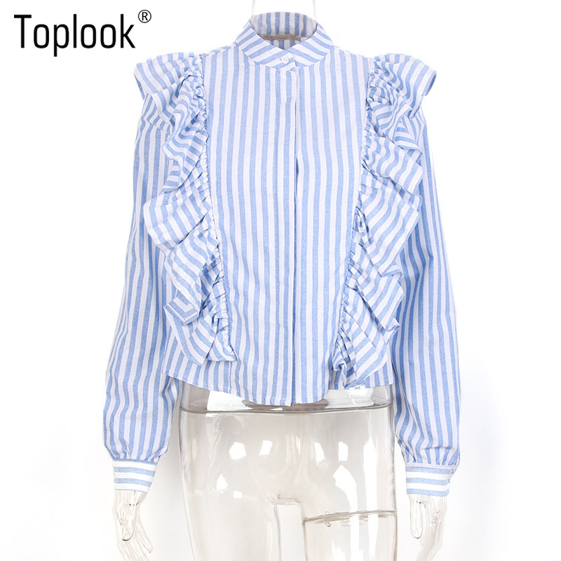 HTB1ecI1PVXXXXacapXXq6xXFXXXp - Blue Frilled Blouse Striped Long Sleeve Shirt Women Casual