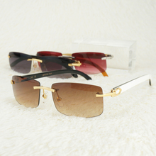 Vintage Rimless Sunglasses for Men Carter Glasses Frames Women Eyewear Fishing Driving Luxury Buffalo Horn Red