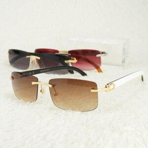 Vintage Rimless Sunglasses for Men Carter Glasses Frames for Women Eyewear for Fishing Driving Luxury Buffalo Horn Glasses Red(China)