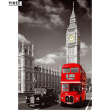 YIKEE full square diamond embroidery london,diamond painting 5d,diy red bus in london