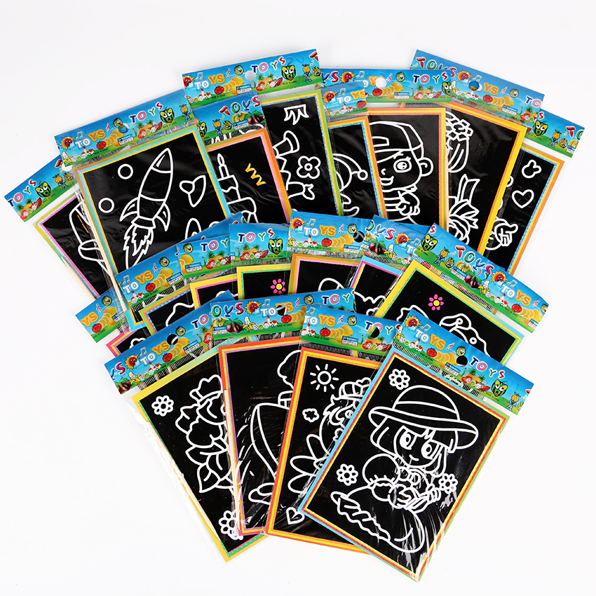 6 PCS 13x9.5cm DIY Scraping Drawing Book Two Sides Use Coloring Graffiti Card Paper Children Painting Learning Scratch Book
